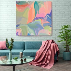 "Green Pink Hand Textured Giclee on Canvas Art 48x48"" A new Summer Day 1"