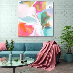 "Orange Aqua Abstract Hand Textured Giclee on Canvas Art 48x48"" Abstract #2"