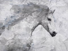 Blue Sky Horse White Horse Fine Art Embellished Giclee on Canvas Irena Orlov