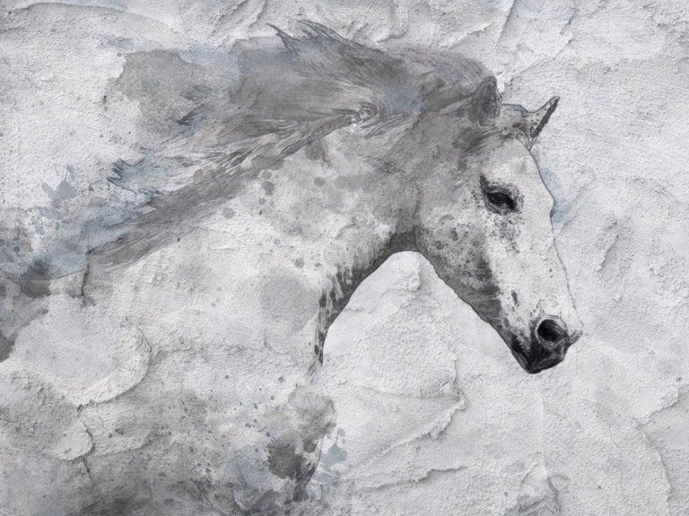 Blue Sky Horse White Horse Fine Art Embellished Giclee on Canvas Irena Orlov - Mixed Media Art by Irena Orlov