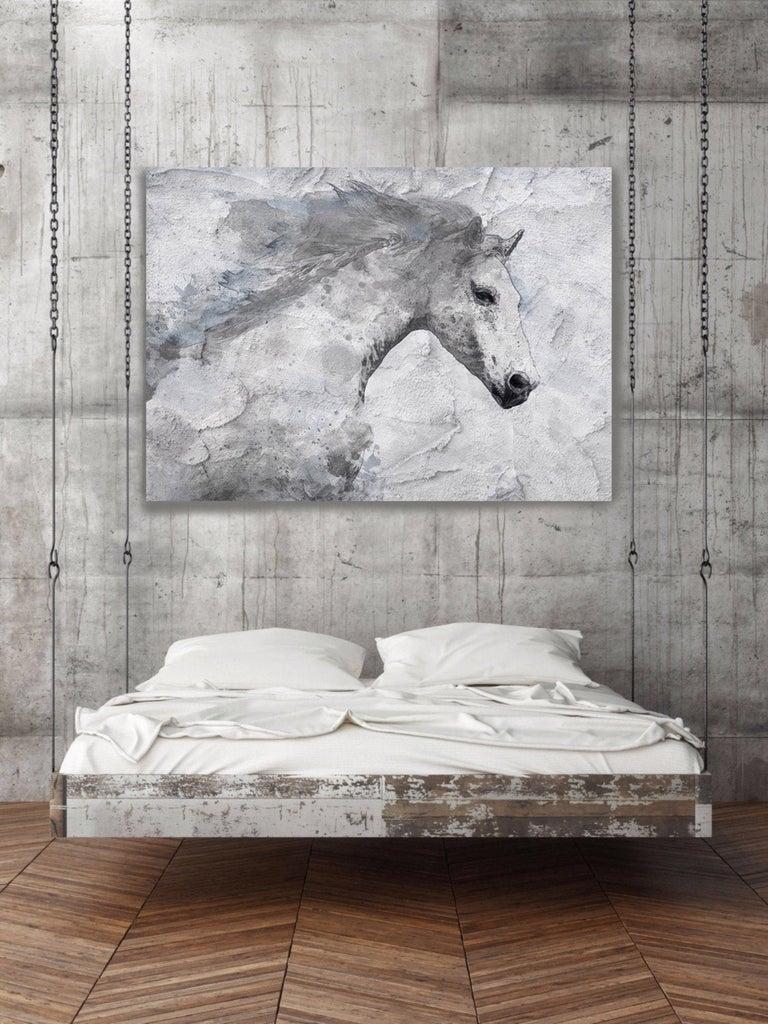 Blue Sky Horse White Horse Fine Art Embellished Giclee on Canvas Irena Orlov - Contemporary Mixed Media Art by Irena Orlov