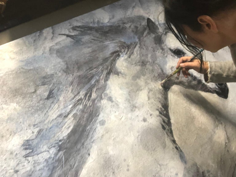 Blue Sky Horse White Horse Fine Art Hand Embellished Giclee on Canvas  Collector's Edition Embellished Art Canvas Giclee With Brushstrokes and rich texture.  State-of-the-art HAND EMBELLISHED ∽ MUSEUM QUALITY ∽ DISPLAY READY Giclee Reproduction Each
