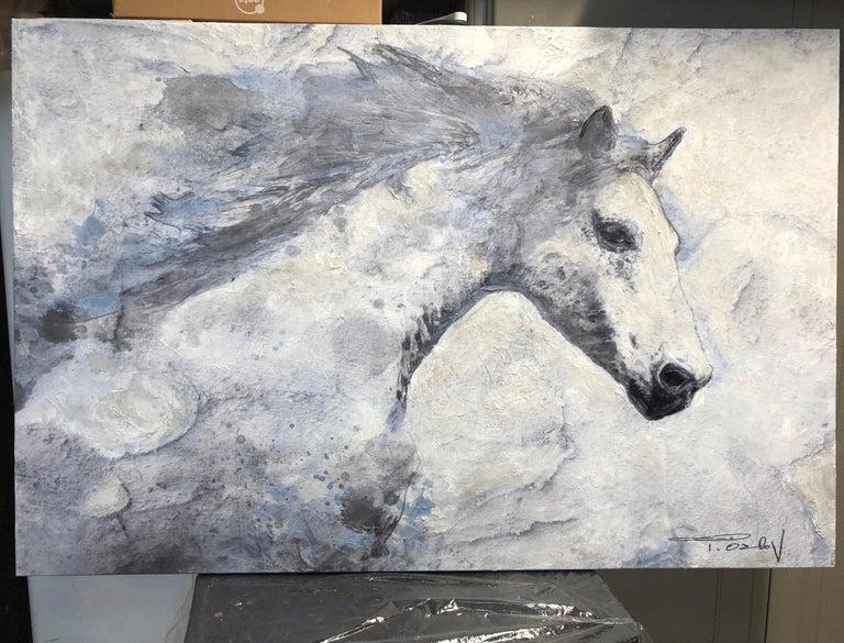 Blue Sky Horse White Horse Fine Art Embellished Giclee on Canvas Irena Orlov For Sale 1