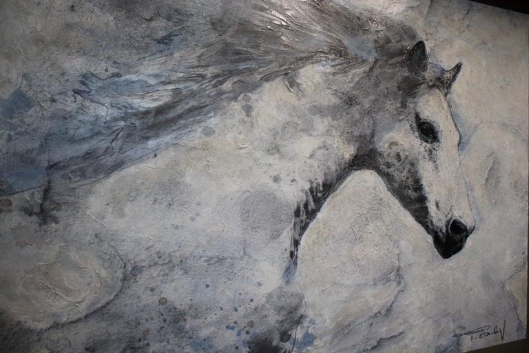 Blue Sky Horse White Horse Fine Art Embellished Giclee on Canvas Irena Orlov For Sale 4