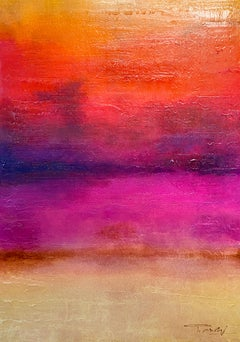 "Pink Red Painting Hand Textured Giclee on Canvas 40W x 60H"" Inspired by Rothko"