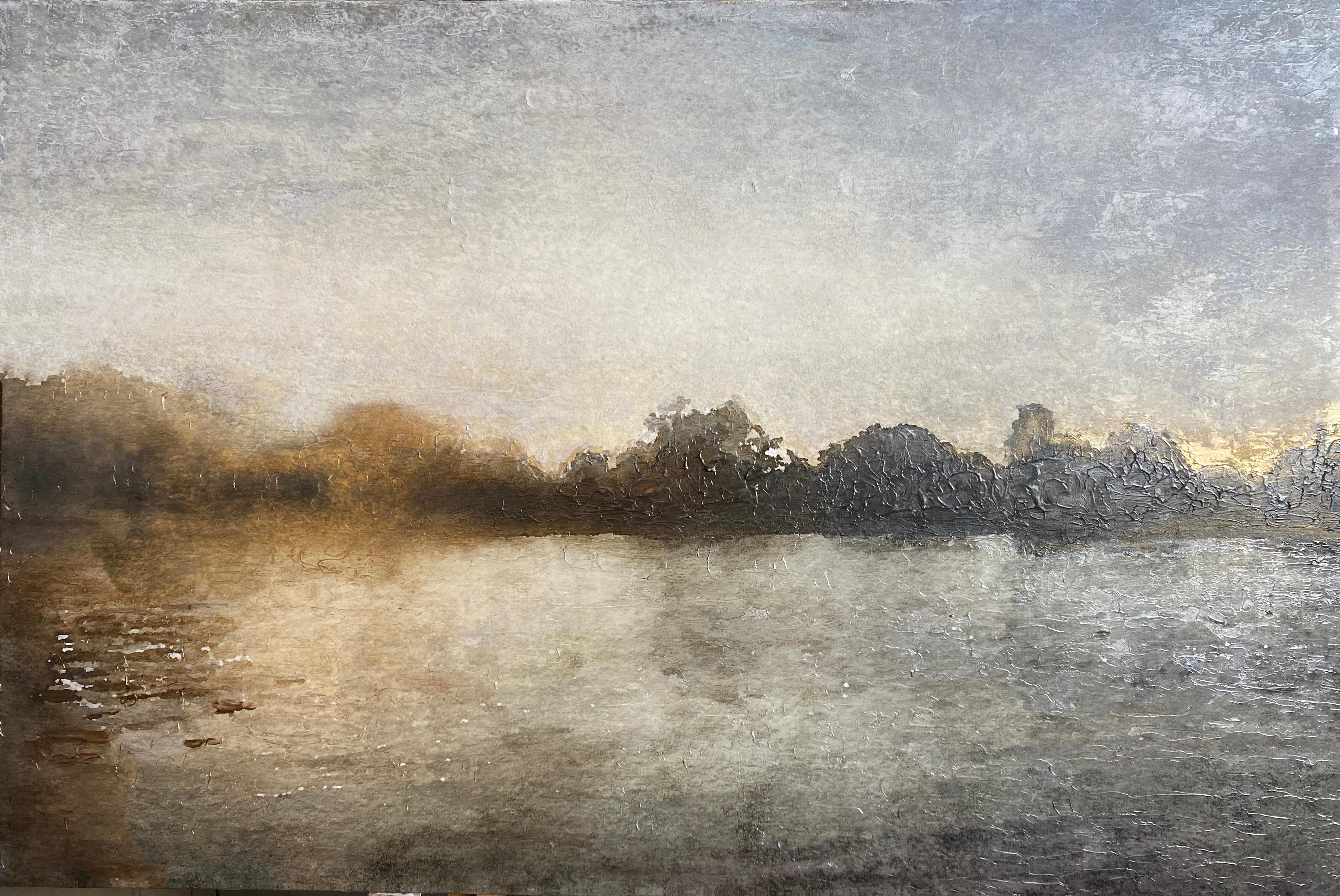 Golden Sunrise Over Trees Seascape Painting Mixed Medium on Canvas