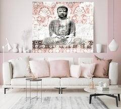 Rustic Buddha Mixed Media Painting on Canvas H 54 X W 65