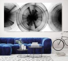 "Debates, Black and White Modern Minimalist New Media vs Painting 40""H X 80""W"