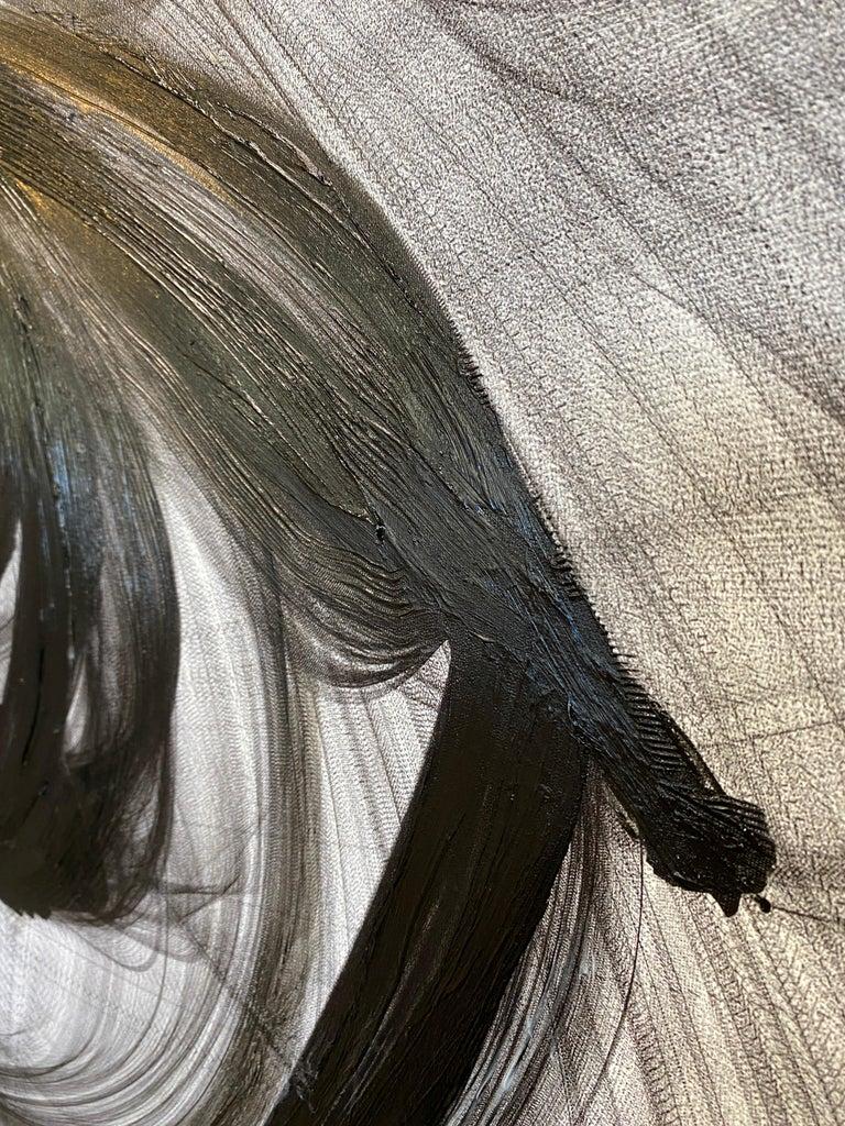 Black White Minimalist New Media Painting on Canvas 60x45