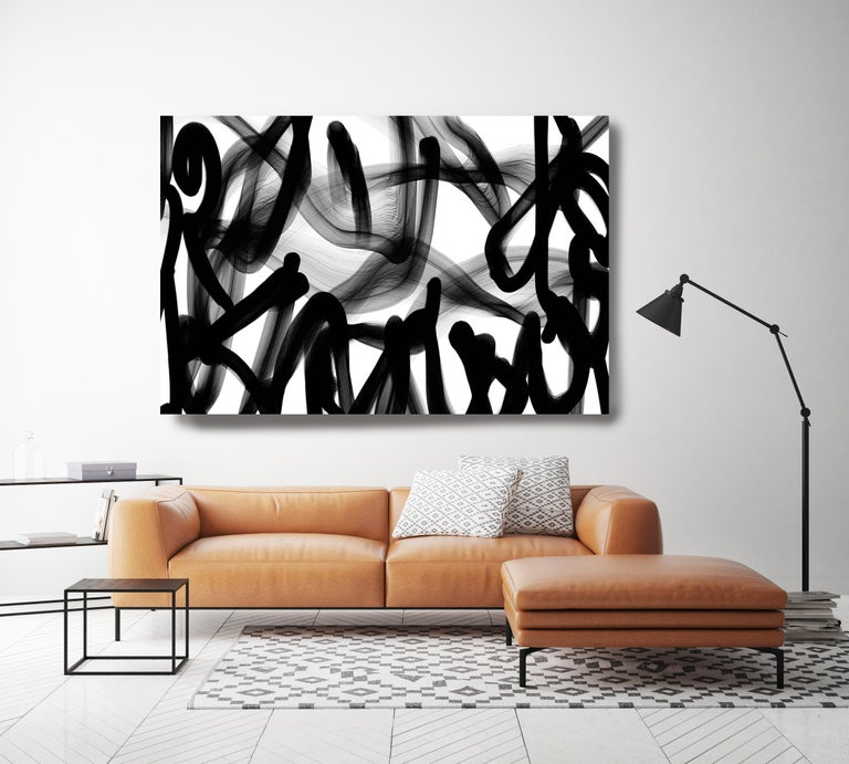 Innovative and Contemporary Original New Media Abstract Black And White Work on Canvas Minimalist New Media Original Painting on Canvas  Innovative and Contemporary Original New Media Abstract Work on Canvas  Investment Opportunity - Unique -