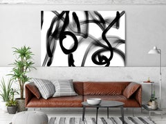 """Black White Minimalist New Media Painting on Canvas 60x45""""Everything and nothing"""