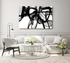 """Black White Minimalist New Media Painting on Canvas 60x45"""" The Invisible World"""