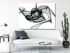"Black White Minimalist New Media Painting on Canvas 60x45"" Outbreak"
