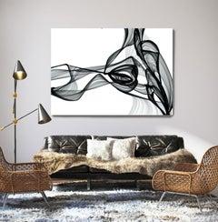 "Black White Minimalist New Media Painting on Canvas 60x45"" Step Outside"