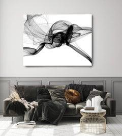 "Black White Minimalist New Media Painting on Canvas 60x45"" Flight"
