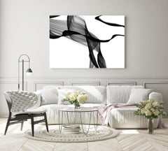 "Black White Minimalist New Media Painting on Canvas 60x45"" Deep Dream"