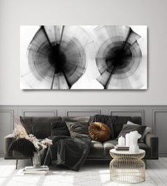 "Black and White Modern Minimalist New Media vs Painting 40""H X 80""W"