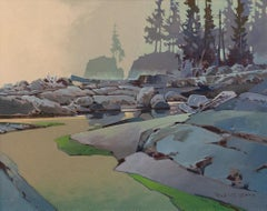 Original acrylic painting by Robert Genn  MORNING, TSKOWIS CREEK
