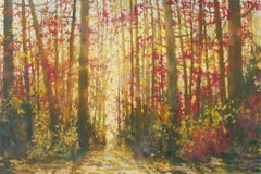 Original acrylic painting by Bev Rodin  FOREST LIGHT SERIES - CHERRY & GOLD