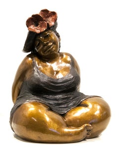 Limited edition sculpture by Rose-Aimée Bélanger  SMALL LADY WITH POPPIES IV/IV