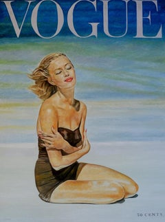 Original oil painting by Robert Lemay  LIZ BENN, VOGUE JULY 1953
