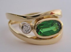 Tsavorite Garnet & Diamond ring by Susan Kun