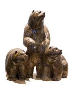 Original fossilstone sculpture by Ken Q Li  THREE BEARS