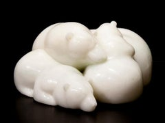 Original Chinese white jade sculpture by Ken Q Li  POLAR BEAR FAMILY