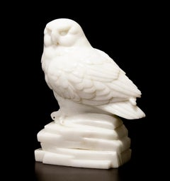 Original Chinese white jade sculpture by Ken Q Li  OWL
