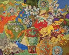 Original acrylic painting by Grant Leier  NO SILENCE IN SHANGHAI