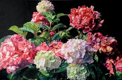 Original oil painting by Robert Lemay  TEN HYDRANGEAS