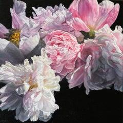 Original oil painting by Robert Lemay  SUMMER PEONIES
