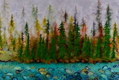 Original mixed media painting by Sheila Kernan  FOG FOREST