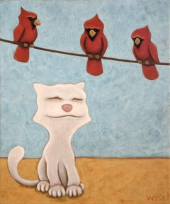 original acrylic painting by Peter Wyse titled  TOM CAT AND THE CARDINALS