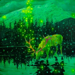 Original oil & spray paint painting by Michael Cameron  FIREFLIES & SNOWFLAKES