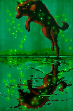 Original oil & spray paint on canvas by Michael Cameron  JUMPING WOLF