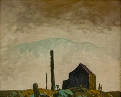 Original oil on board painting by Robert Genn titled  KWAKUITL HOMESTEAD c. 1960