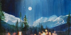 Original mixed media painting by Steven Nederveen titled  MOONLIT PANORAMA