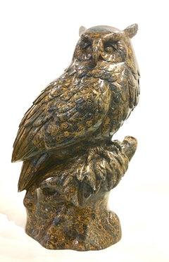 Original fossilstone sculpture by Ken Q Li  OWL
