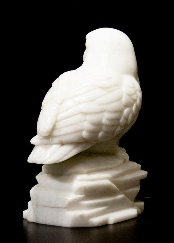 Original Chinese white jade sculpture by Ken Q Li  OWL  For Sale 1