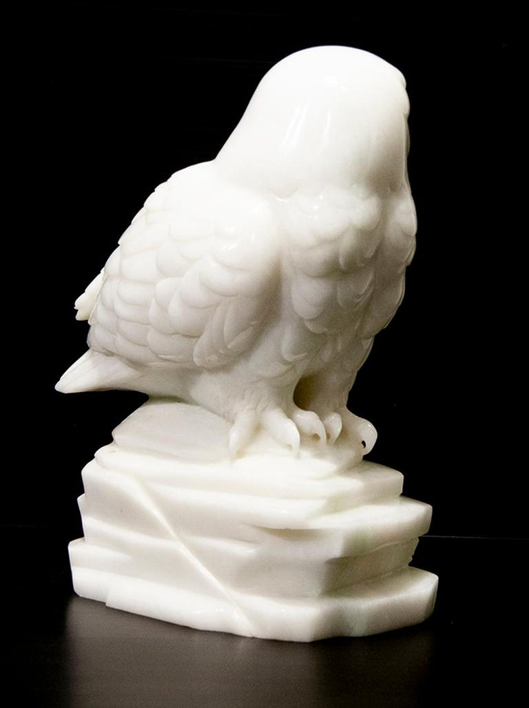 Original Chinese white jade sculpture by Ken Q Li  OWL  For Sale 2