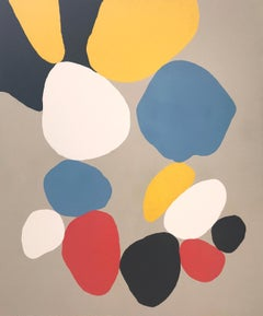Oliver, abstract, red, blue and yellow, diptych, black and white, gray, colorful