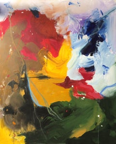 Persephone, red yellow and blue, cloudy, abstract, large black and white