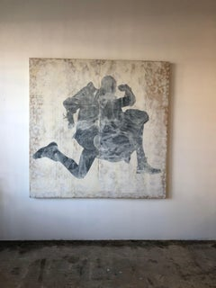 Untitled figurative, black and white, tan, running, painting, large