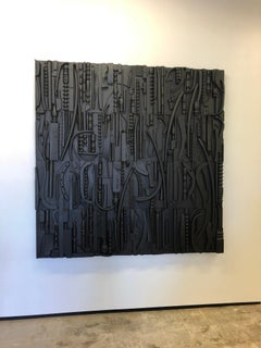 Black monochromatic, Nevlson-like, wall sculpture, wood assemblage