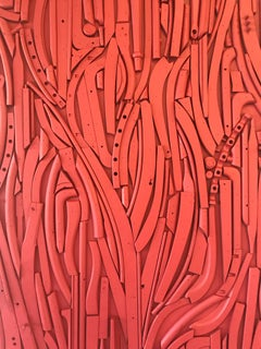 Abstract, Sculpture, Red, Found Objects, Abstract Art, Wall Sculpture, Ceramic