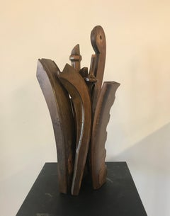 Wooden, Brown, Abstract, Sculpture, Found Objects