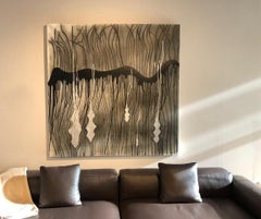 black, canvas, abstract, white, lines