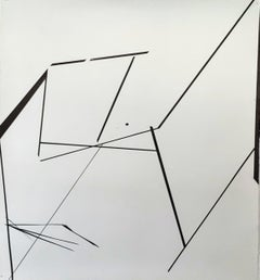 Geometric, abstract, monochromatic, black & white, linear, ink on paper drawing
