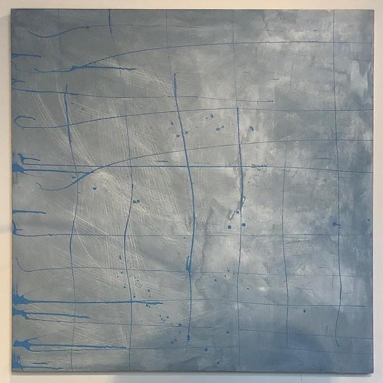 Abstract, Art, Painting, Acrylic, Canvas, Lines, Blue, Grey, Square